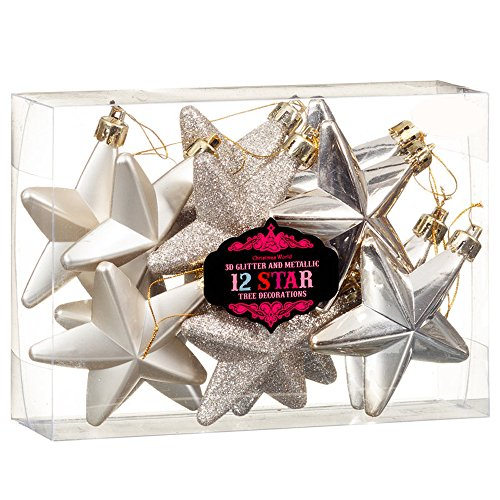 Christmas presents new albero di natale decorazione 3d glitter & metallic stella di natale, 12pezzi, colore: oro