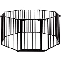 CASART 5/6/8 Panel Metal Fireplace Fence/Safety Gate/Safety Barrier/Stove & Fire Guard/Room Divider for Bedroom Kitchen Office Home (6 Panels, Black)