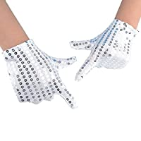 JISEN Child Costume Dress up Dance Sequin Cosplay Party Halloween Gloves Age 3-7 Silver