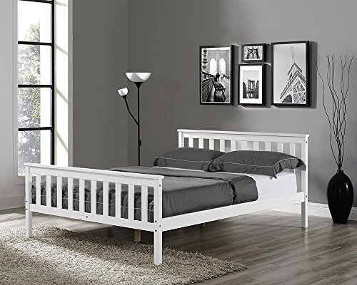Joolihome Double Bed in White Wooden Frame 4'6ft Solid Pine Bed Frame(Adults Size)