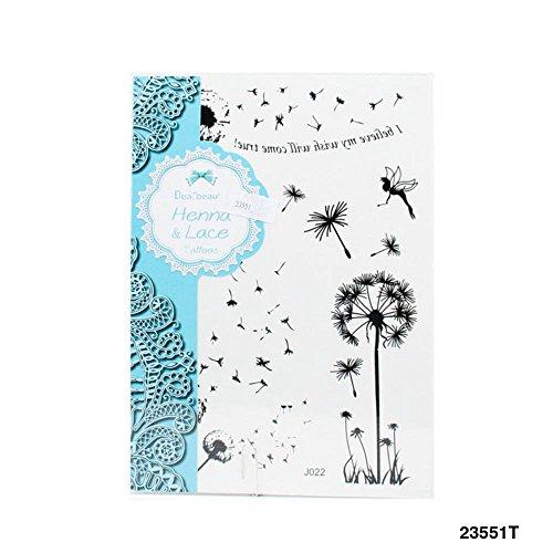 'henna & lace tatuaggi con pusteblumen, fatine e scritta i believe my wish come true.