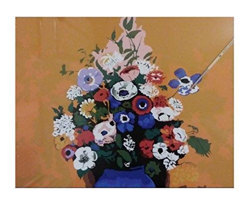 Blue Square Vasen (DIY Malen nach Zahlen Kit 40,6x 31,8cm gerahmt Leinwand Acryl ÖL Gemälde für Erwachsene, Kinder, Studenten, Anfänger mit Bürste und Acryl Pigment 16