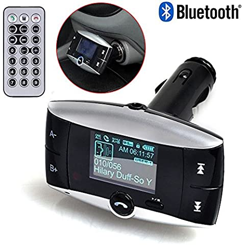 New Univeral LCD Display Bluetooth Wireless Car MP3 FM Transmitter SD MMC USB Modulator Radio Adapter Handsfree Car Kit For Calling and listening to music MP3 Players Bluetooth enabled