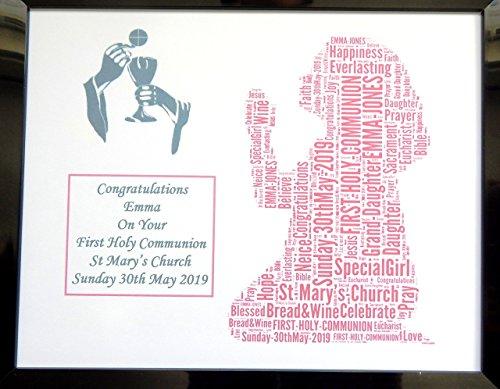 Neue personalisierte Mädchen oder Jungen, die Erste Heilige Kommunion Wort Art Design (F) in 8