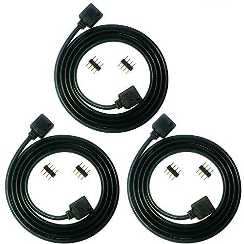 Kabenjee 3X 1m RGB5050 2835 3528 LED Streifen Verbinder,4-polig LED Stripe Verlängerungskabel Verteiler,4color RGB LED Band Layout Dekoration Erweiterungsanschluss mit lötfreiem Stecker