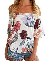X-Future Women's Chiffon Floral Print Off Shoulder Chiffon Sexy Blouse Tops White M