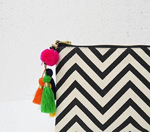 VLiving Schwarz und Weiß, geometrische Muster, Chevron Print, Make Up oder Kosmetik Tasche, Utility Pouch, 12,7x 22,9cm (Schwarz Und Weiß Chevron)