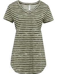 88eee329d88e2d Versandhaus Damen Used Long Shirt mit abgerundetem Saum, 244876 in Oliv  gestreift