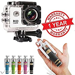 Lambent Action Sport Camcorder 12Mp 1080P , 1.5 Inch & Mini Selfie stick - 1 Year warranty