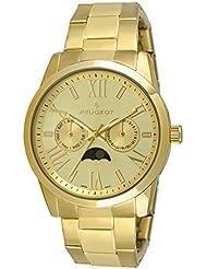 Peugeot 7094G - Reloj de pulsera con calendario para mujer, color dorado
