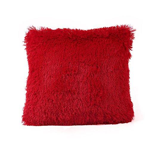 Taies d'oreiller Quistal Oreiller Cousin Doux Confort en Peluche Housse Cousin pour Maison Chambre Canapé Décor 43cm*43cm/16*16'' (Rouge)