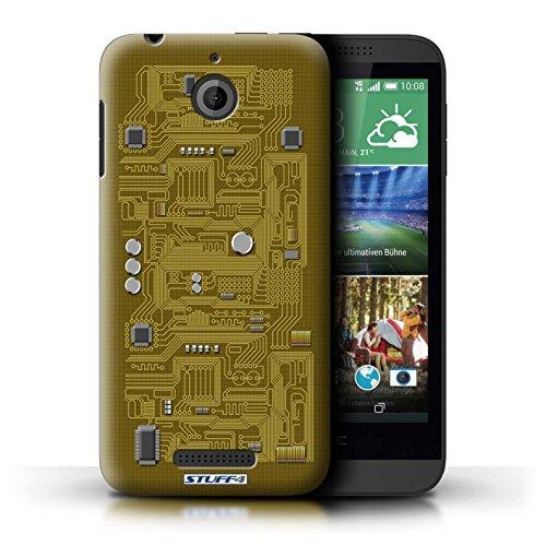 Kobalt® Imprimé Etui / Coque pour HTC Desire 510 / Pourpre conception / Série Circuit Board Jaune