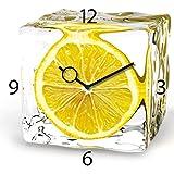 Eurographics Wanduhr aus Glas für die Küche, Iced Lemon, Zitrone im Eiswürfel, gelb, 30x30 cm