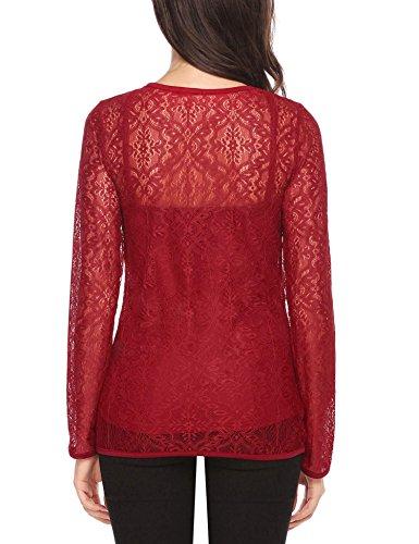 Meaneor Damen 2-in-1 Shirt Langarm Bluse Transparent Geblümt Spitze Figurbetont Durchsichtig Netz Oberteile T-Shirt Out 2 in 1 Oberteil Weinrot