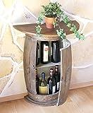 Wandtisch Tisch Weinfass 0373-R Braun Schrank Weinregal Fass 73cm Beistelltisch Konsole Wandkonsole Bar