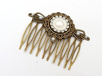 Peigne cheveux avec perle blanche et strass clair
