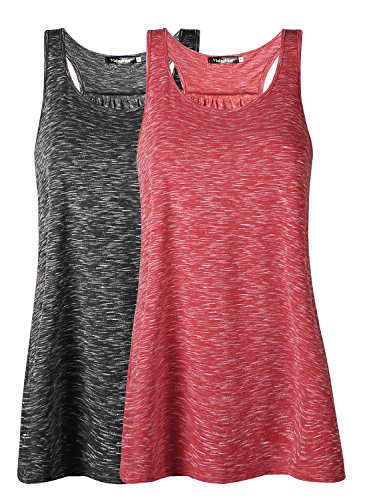 Workout Tank-top Shirt (Damen Tank Top Sommer Sports Shirts Oberteile Frauen Baumwolle Lose Ärmellos for Yoga Jogging Laufen Workout-br-m-2pc)