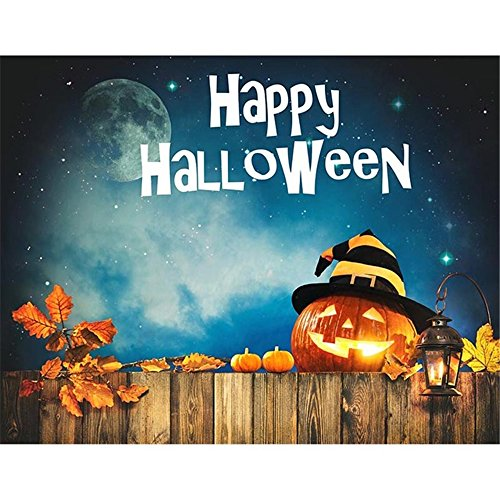Happy Halloween Fotografie Hintergrund Night Party Banner DUNKELBLAU Sky Glitter Sterne Mond Kürbis Laterne mit Hat Maple Leaf Kinder Fotoshooting Hintergründe Holz Board 7x 5FT