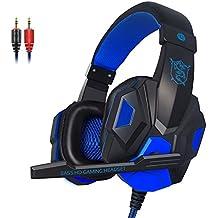 KanCai Cascos Auriculares Gaming con Micrófono Headset Auricular Gamer Juegos Jack 3,5mm Ultra-livianos Ajustable Estéreo Para PC Computadoras, Móviles