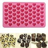 bulrusely Coeur Moule en Silicone, DIY 55 Trou en Forme De Coeur Chocolat Biscuit De...