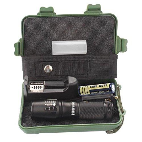LED Taktische Taschenlampe, Ulanda-EU 3000 Lumen XML T6 Portable Outdoor wasserdichte Fackel mit einstellbarem Fokus und 5 Lichtmodi, wiederaufladbare 18650 Lithium-Ionen-Akku und Ladegerät