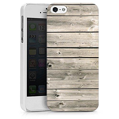 Apple iPhone X Silikon Hülle Case Schutzhülle Graue Holzlatten Holz Look Planken Hard Case weiß