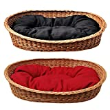 GalaDis Großer Hundekorb/Hundebett/Hundesofa aus Weide mit weichem Hundekissen für mittelgroße und große Hunde ca. 100 cm