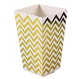 QHGstore 12 teile / los Hochzeit Hühner Popcorn Papier Box Goldenen Streifen Muster Wellenstreifen