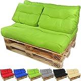 PROHEIM Coussins pour Canape Euro Palette Lounge - Créez Un élégant Sofa en Palette résistante aux éclaboussures (Pas Un Ensemble!), Couleur:Vert, Variable:2 Coussins de Dossier 60 x 40 cm