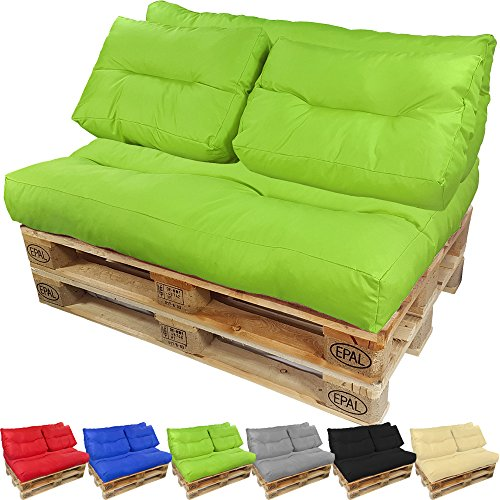 PROHEIM Coussins pour Canape Euro Palette Lounge - Créez Un élégant Sofa en Palette résistante aux éclaboussures (Pas Un Ensemble!), Couleur:Vert, Variable:1 Coussin de Dossier 120 x 40 cm