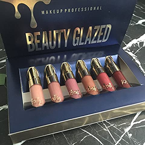 TOPBeauty 6pcs/set Makeup Matte Lipstick Lip Kit Gloss Long Lasting Lip Stick Cosmetics mini set brithday edition
