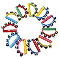 AJIAMA 10Pcs Vivid Color Jingle Bells Sleigh Bells Instrument On Wooden Handle For Baby Kids Children Musical Toys
