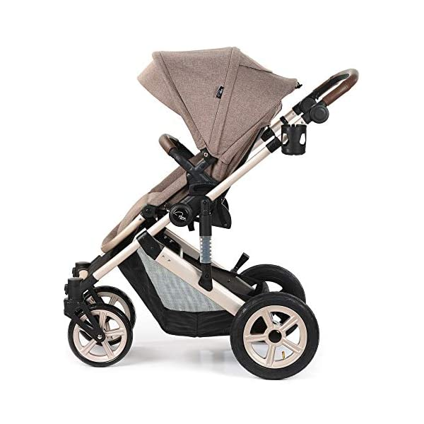Roma Moda Pram, Includes Carry Cot, Rain Cover, Cup Holder and Bag - Tweed Roma Suitable from newborn - 15kg - Raised backrest in the carry cot Lightweight aluminium frame - All round suspension - Easy fold All terrain tyres (rear air tyres and front foam tyres) Large hood with viewing window 9