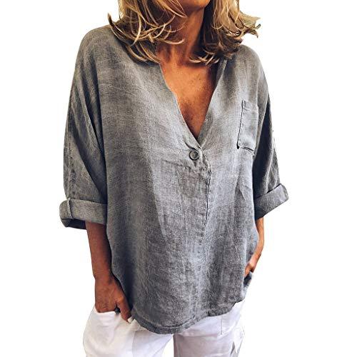 Damen Bluse Elegant Grosse Grössen Langarm Solide V-Ausschnitt Frühling Sommer Unregelmäßige Lose Vintage Casual T-Shirt, Frauen Tops Fashion Sexy Baggy Pulli Hemd Womens Pullover