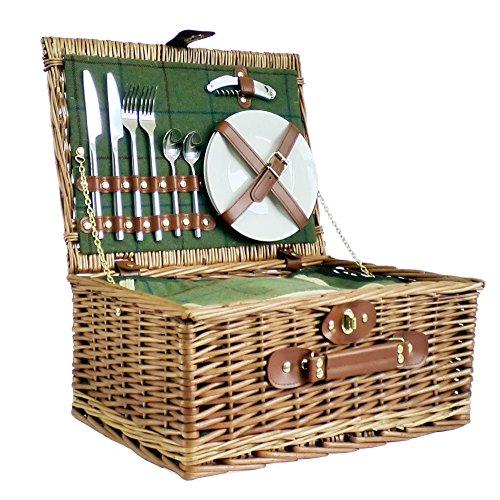 Luxus Picknickkorb für 2Personen grün tweed-style–Geschenk Ideen für Weihnachten Geschenke, Geburtstage, Jahrestage & Congratulations Presents (Tweed Fine)