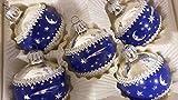 Decoratie Christbaumkugeln Nostalgie 30-40 Jahre alt blau/Silber Sterne Mond 6cm 5 Stück