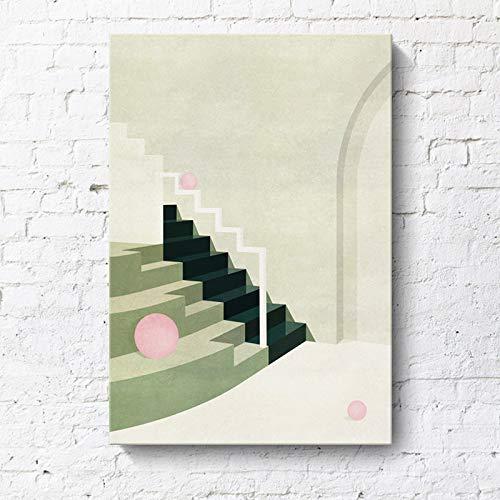 RTCKF Moderno e Minimalista Dipinto Decorativo Geometrico architettonico Paesaggio Creativo Appartamento Hotel Morandi Dipinto a Colori Senza Cornice R1 30cmx40cm