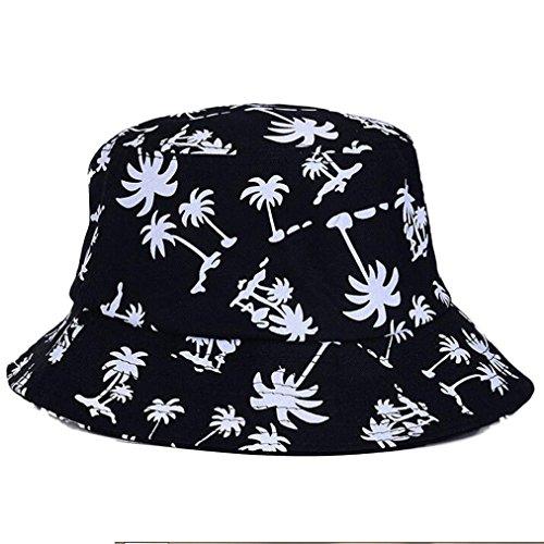 Tonsee Femmes Graffiti chapeau plat avec Coconut Tree modèle Outdoor chapeau Noir