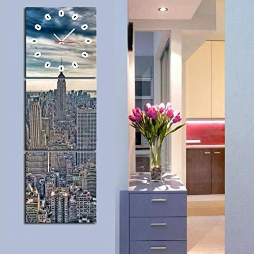 TWL LTD Moderne Wohnzimmer Esszimmer Dekoration Malerei Stumm Uhr Leinwand Gemälde Dreifache Wanduhr Stadtbild-Serie Enthält Rahmen, Uhren und Gemälde, 3PCS, 60 * 60 cm -