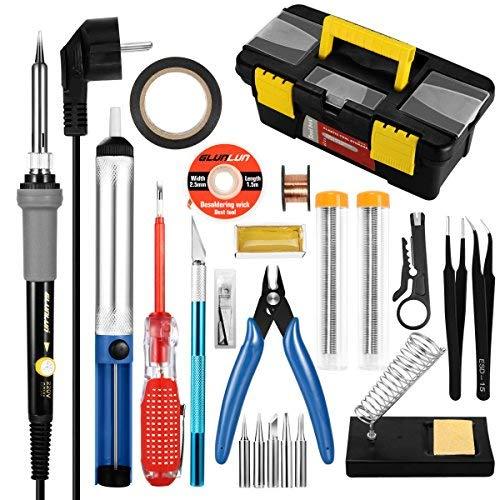 Glunlun 60w saldatore kit elettronica, 25 in 1 saldatura a temperatura regolabile saldatore per riparazione per saldare piccoli elettrodomestici, cellulari e componenti pc.