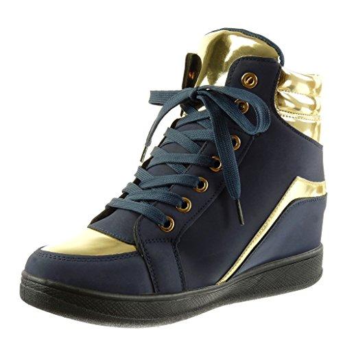 Angkorly Mode Chaussures Sneaker Haute Wedge Heel Femme Doro Wedge Heel 6 Cm Bleu