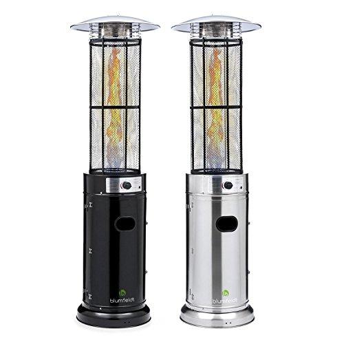 Blumfeldt Goldflamme V2A • Terrassenheizer • Heizstrahler • Gas-Heizer • 12 kW Heizleistung • Butan-/Propan • Brennröhre aus Quarz-Glas • Piezozündung • Edelstahlgehäuse • Transportrollen • silber; - 7