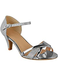 8b3ad27655c Fashion Thirsty Heelberry® Womens Ladies Low Heel Wedding Bridal Silver  Sandals Party Strappy Shoes Open