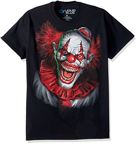 Kurzarm-T-Shirt, Fantasy Scary Clown, Übergröße, flüssig, Blau - Schwarz - XX-Large (Big Scary Clown)