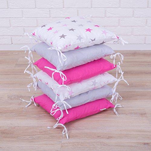 Amilian® Baby Nestchen Bettumrandung 210 cm Design38 Bettnestchen Kantenschutz Kopfschutz für Babybett Bettausstattung