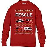 Green Turtle T-Shirts Kids Weihnachtspullover Feuerwehr Polizei Ambulanz Kinder Pullover Sweatshirt S 122/128 Rot
