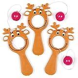 """Geschicklichkeitsspiel (Paddleball) """"Rentier"""" – ideal für Kinder zum Nikolaus (5 Stück)"""