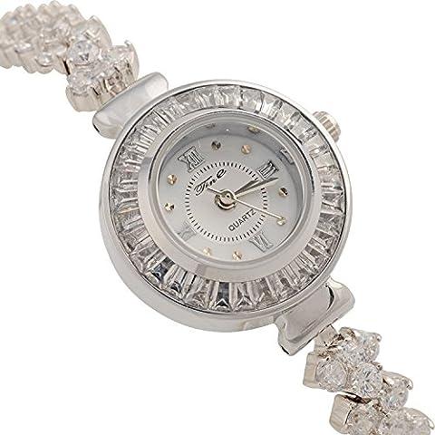 ANNA&JOE Nuovo signore tempestato di strass gioielli impermeabile Giappone movimento che orologio da polso orologi , silver - Giappone Strass