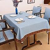 CCILOVE Mantel de lino estilo moderno minimalista encajes de paño de color sólido,blue,100*160 cm