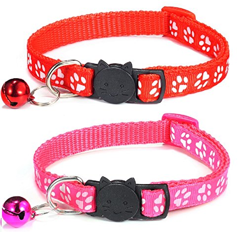 Cat Collar and Bell With Safety Quick Release Break Away Buckle, Suitable and Adjustable To Fit All Domestic Cats And Larger Kittens - Pack of 2